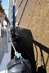 Fenders protect the boat from the lock walls.