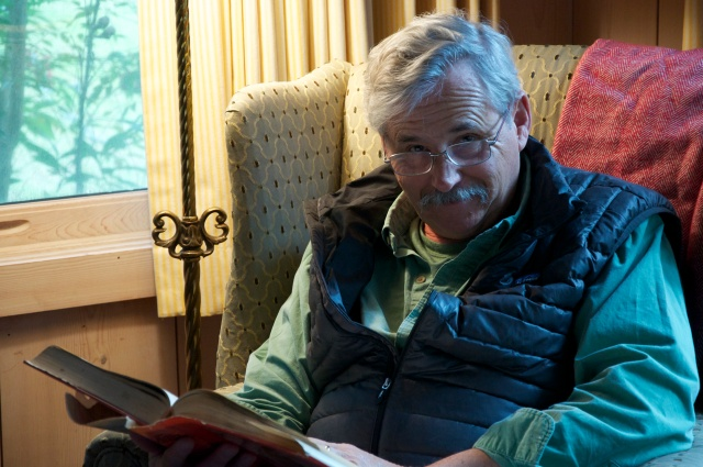 Bob enjoying a quiet moment reading about Fairhope's history.