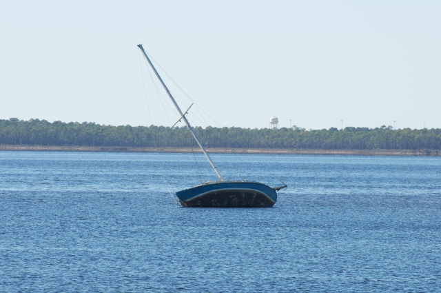 Grounded sailboat - what you don't want to see as you enter an anchorage.