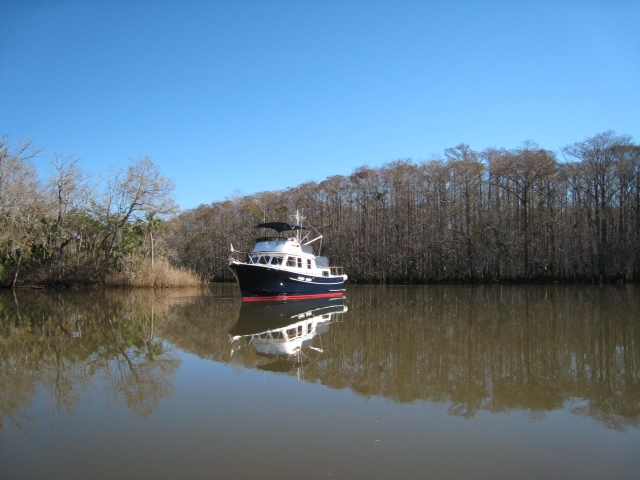 The Arkansas Traveler, peacefully at anchor in Saul Creek.