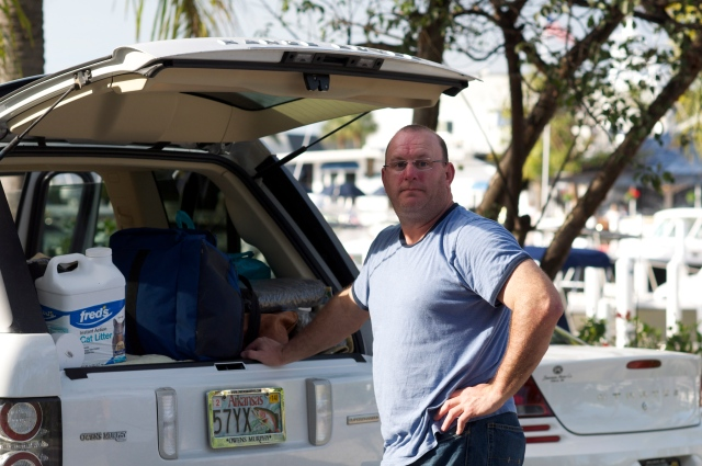 David packs the car before we head out.