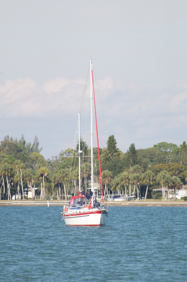 Sailboat at anchor off the ICW on Florida's west coast.