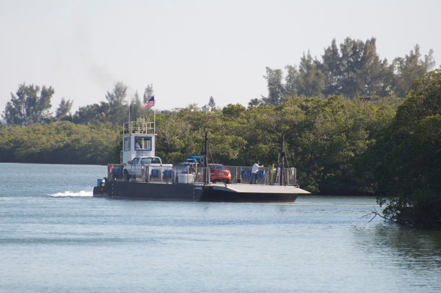 Ferry docking at the barrier island.