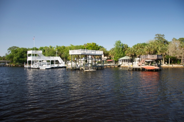 Homes along the waterway sport elaborate docks.