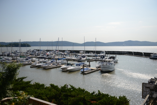 Half Moon was the name of the ship that Henry Hudson sailed as he explored the river.  Half Moon Bay is named after her.