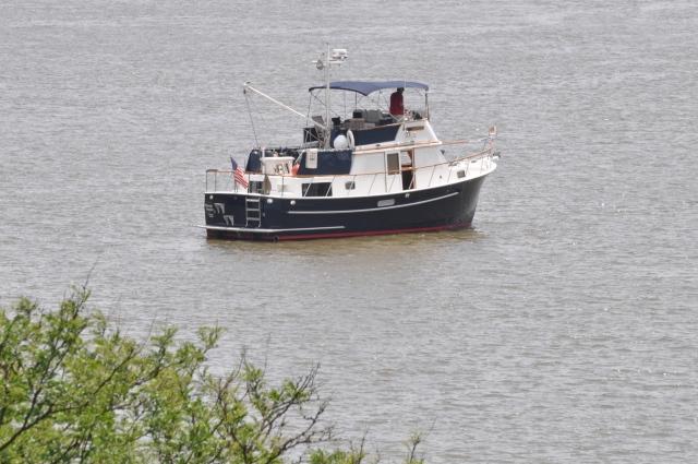 Arkansas Traveler at anchor off Bear Mountain State Park.