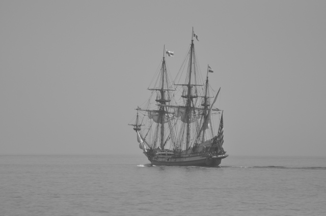 Sharing the Bay with a remarkable replica ship.