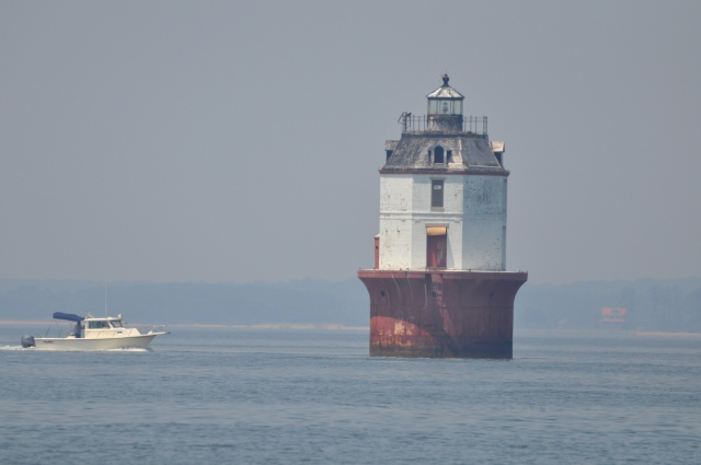Passing the lighthouse that marks Point No Point shoals.