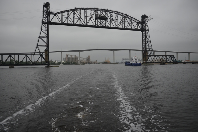 Entering Norfolk Harbor and leaving the narrow channels of the Atlantic Intracoastal Waterway in our wake.