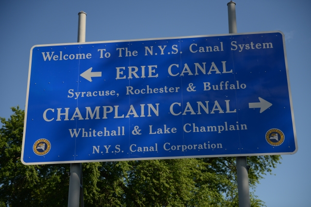 This sign, one of the few on the waterways, marks the point where the Erie Canal joins the Hudson River.  We turned to port.