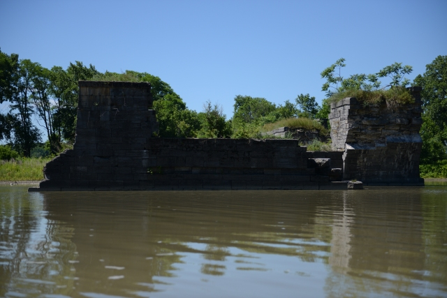 This is a cross-section of the aqueduct.  It was lined with wood and filled with water to float the barges over the creek.