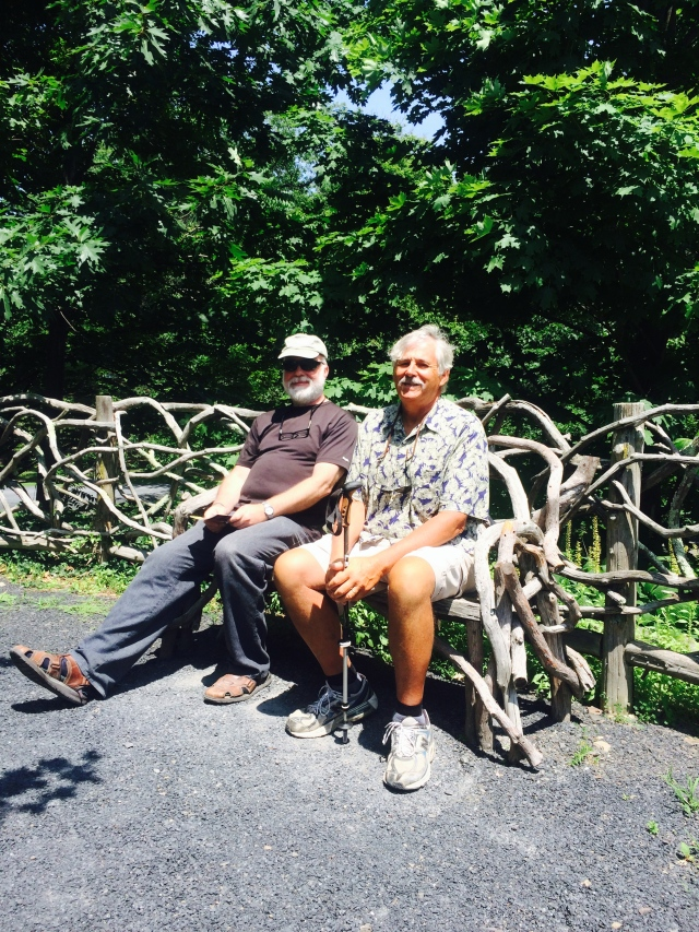 Paul and Bob resting on a bench designed by Frederic Church.