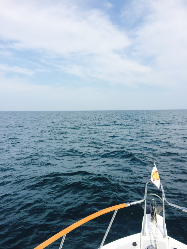 Our view of the Lake.  The weather was very kind to us with following seas, wind and current.