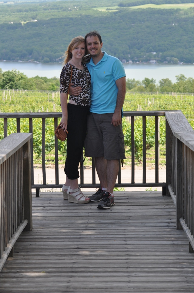 Anna Marie and Michael at Dr. Konstantin Frank's Vinifera overlooking the vineyard and Keuka Lake.
