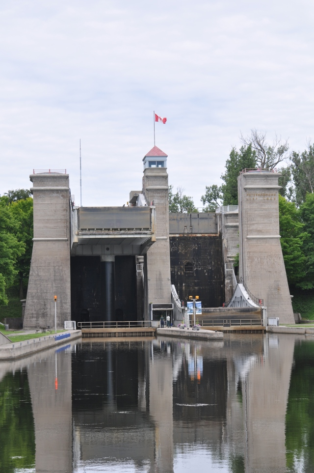 The approach to the Peterborough Lift Lock.
