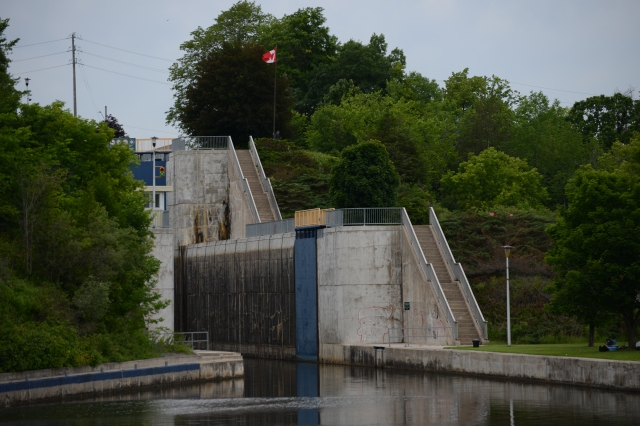 The first 36 locks heading west are taking us upstream over the rising land.  The last set of locks will lower us  down into Georgian Bay, and the northern section of Lake Huron.