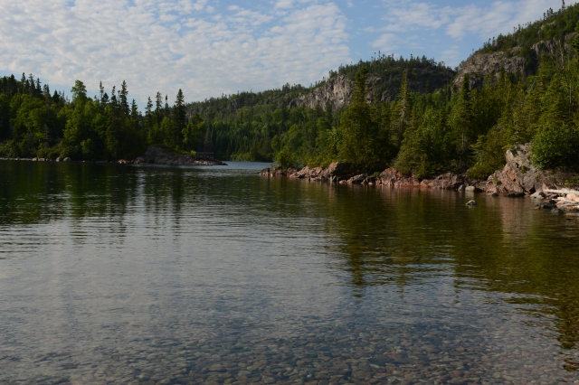 The narrow entrance to Otter Cove on the eastern shore of Lake Superior