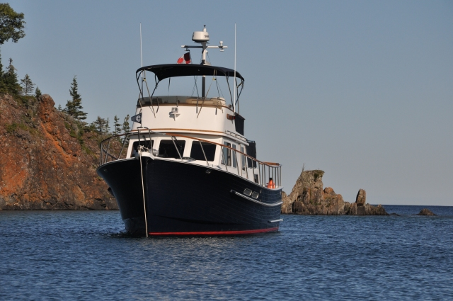 Arkansas Traveler at anchor in South Bay, Patterson Island, Slate Islands