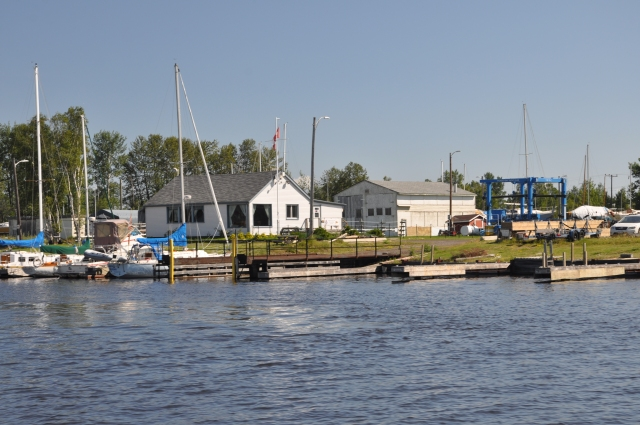 Thunder Bay Yacht Club from the river